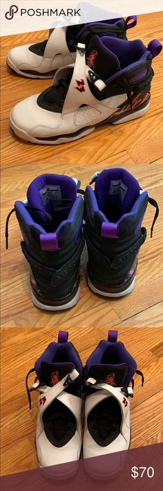 869af71d4940c Jordan 8 3-peat sneakers White and purple Jordan sneakers. In excellent  condition and