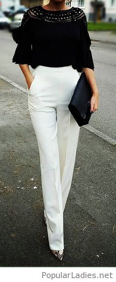 White pants and black top outfit inspiration