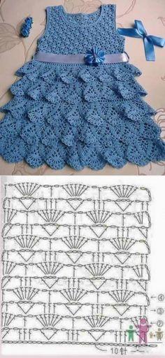 Lace Dress Pattern, Crochet Baby Dress Free Pattern, Crochet Dress Girl, Skirt Pattern Free, Baby Girl Crochet, Crochet Baby Clothes, Crochet Patterns, Crochet Dresses, Crochet Diagram