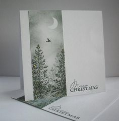 "By Chris Margrie (ceedee at Splitcoaststampers). Uses Stampin' Up ""Lovely as a Tree"" stamp set. Panel: moon masked, panel sponged, trees stamped."