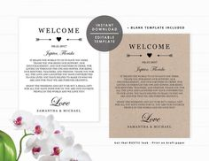 Printable Weekend Itinerary Accordion Fold Cards Wedding Welcome