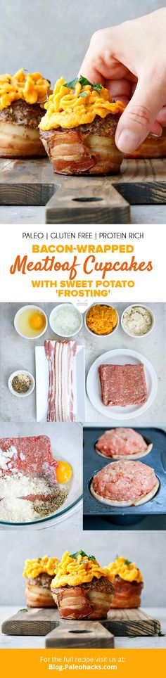 Upgrade your classic meatloaf with these bold and smoky bacon-wrapped meatloaf cupcakes, topped with a decadent sweet potato frosting! Get the full recipe here: https://paleo.co/meatloafcupcakes
