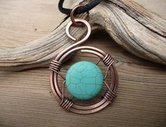 turquoise necklace, wire wrapped jewelry, turquoise pendant, unique necklaces for women, copper wire jewelry, wire wrap one of a kind gift by TFUniqueTwists on Etsy https://www.etsy.com/listing/522042078/turquoise-necklace-wire-wrapped-jewelry