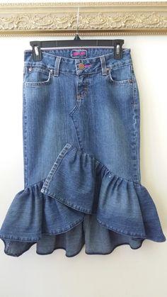 Reconstructed Asymmetrical Denim Ruffle Skirt, 29 inch waist by SundayDoveDesigns on Etsy