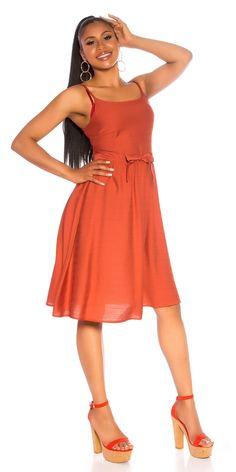 STRAP Φόρεμα WITH WAISTBAND  Χρώμα: Κοραλί  Σύνθεση: 95% VISCOSE , 5% POLYESTER Summer Dresses, Fashion, Moda, Summer Sundresses, Fashion Styles, Fashion Illustrations, Summer Clothing, Summertime Outfits, Summer Outfit