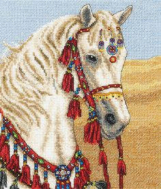 The majestically dressed horse in this cross stitch kit from Anchor offers a brief ride into the fine dressing of the Arabian desert riders.A stando...