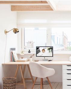 White and light wood office space