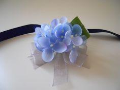 Blue Navy and Silver Hydrangea Wrist Corsage by MyWeddingDesign
