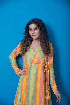 Green Multicoloured Designer Khadi Cotton Angarkha Kurta – I Wear Khadi Neck Designs For Suits, Designs For Dresses, Dress Neck Designs, Blouse Designs, Simple Kurti Designs, Kurta Designs Women, Long Kurta Designs, Indian Designer Outfits, Indian Outfits