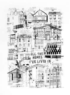 All The Homes I've Lived In - James Gulliver Hancock illustration. . . what a great idea!