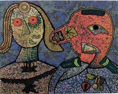 Lithographie - Enrico Baj - Il generale Dada Amin ed una delle sue mogli