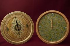 Kashmiri Art form on Wood or Papier Mache: Wall clocks. Papier mache began with the art of paper making and writing in the 15th century, during the reign of Badshah Zain-ul-Abedin in Kashmir. The art now manifests itself on cloth, stone, wood and metal apart from moulded paper pulp.