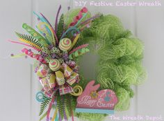 """Bunny and ribbon and eggs, oh my! In this DIY mesh Easter wreath tutorial we willuse soft pastel colors, ribbon, a couple of eggs and a pretty pink bunny to make a lovely """"Happy Easter""""wreath t..."""