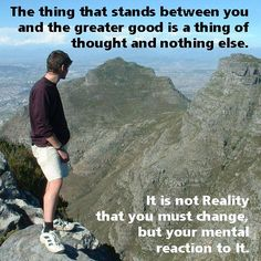 """""""The thing that stands between you and the greater good is a thing of thought and nothing else.  It is not Reality that you must change, but your mental reaction to it.""""  --Ernest Holmes,"""