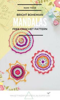 Free Crochet Pattern | 3 Bright Bohemian Mandalas to Crochet