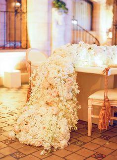 Glamorous Palm Beach Wedding, Floral Table Runner   Brides.com