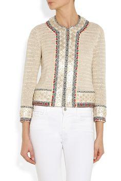 Tory Burchembellished crochet-knit linen jacket - want want want
