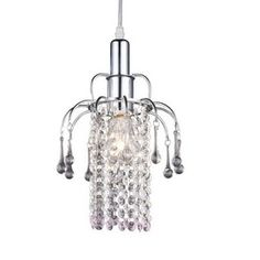 Z-Lite�7-in W Chrome Mini Pendant Light with Crystal Shade