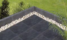 Dallage terrasse Métal en pierre naturelle reconstituée de Pierra pour un aménagement extérieur moderne.  www.pierra.com/exterieur/metal/