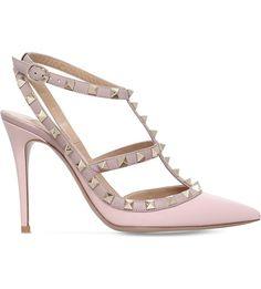 VALENTINO - Rockstud 100 leather heeled courts | Selfridges.com