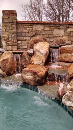 Another view of this Waterfall on a custom swimming pool. Natural Swimming Pools, Ponds, Waterfall, Patio, Travel, Natural Pools, Viajes, Terrace, Porch