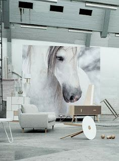 """I love these giant """"art"""" walls ... such impact!  Photowall by Bolia"""
