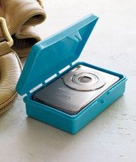 Put your camera in a soapbox before throwing it in your bag or purse. how-nifty
