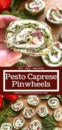 Fast and simple party appetizer recipe. Vegetarian Caprese Pesto Pinwheels Roll Ups are made of cream cheese, mozzarella, Parmesan, basil pesto, and tomatoes rolled in a flour tortilla. Easy finger food for entertaining or game day. Finger Food Appetizers, Easy Appetizer Recipes, Simple Appetizers, Easy Pinwheel Appetizers, Easy Finger Food, Classy Finger Foods, Italian Appetizers Easy, Cocktail Party Appetizers, Party Appetizers