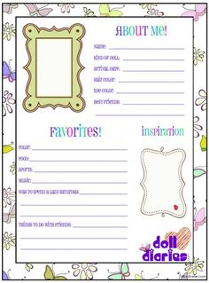 Free printable doll ID worksheet from www.dolldiaries.com