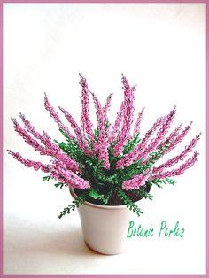 Fleurs en perles Bruyère rose grandeur nature : Accessoires de maison par botanic-perles