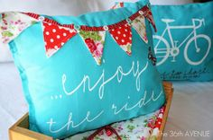 Pillows from Target dishtowels -- a little sewing, a little stenciling, a ton cute.  From The 36th AVENUE