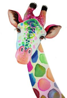 Grande girafe A3 Art signé imprimer à partir d'une aquarelle originale de l'artiste Maria Moss