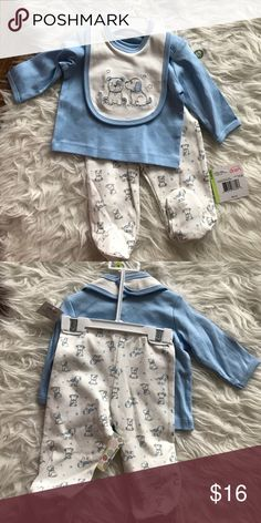 Baby outfit Little Me, lap shoulder set with bib. Light blue color, 2pcs + bib. Brand new with tag Little Me Matching Sets