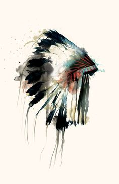 watercolor art. Native American feather headdress