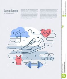 Illustration about Vector fitness concept of training and healthcare in mono line style. Poster with sport icons and design elements. Illustration of lifestyle, illustration, poster - 64333894 Project Purple, Ucla Health, Vector Background, Motivate Yourself, Editorial Design, Workout Programs, Lorem Ipsum, Icon Design, Design Elements