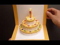 ▶ Birthday Cake Kirigami Pop Up Card Tutorial | Free Pattern - YouTube