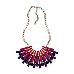 Blu Bijoux Red Purple and Brown Beaded Bib Necklace ($16) ❤ liked on Polyvore featuring jewelry, necklaces, fashion jewelrynecklaces, purple necklace, triangle necklace, red necklace, bead necklace and gold triangle necklace
