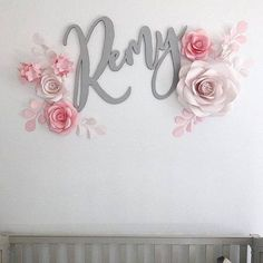 Personalized Nursery Paper Flower set in Blush and Dusty Rose - Paper Flowers Wall Decor - Blush Nursery Decor Blush Nursery, Girl Nursery, Large Paper Flowers, Paper Flower Wall, Paper Flower Backdrop, Wall Flowers, Royal Paper, Paper Leaves, Backdrops