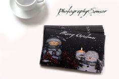 Cartes de voeux pour le temps des fêtes, Cartes Merry Christmas, Photo d'un bonhomme de neige, Flocons de neige, Photo vintage, Bougie.