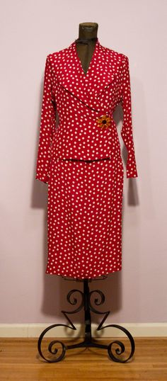 1930's Red Polka Dot Silk Suit by GarbOhVintage on Etsy