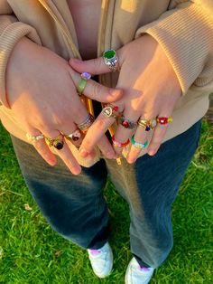 Nail Jewelry, Cute Jewelry, Jewelry Accessories, Jewlery, Jewelry Rings, Aesthetic Rings, Aesthetic Clothes, Aesthetic Indie, Fimo Ring