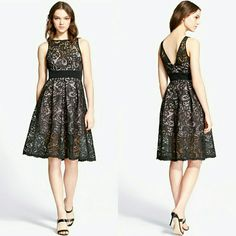 149✂JAY GODFREY Black Lace Party Dress PRICE IS FIRM!! (Seeon TITLE) This is the lowest I can do!! Trying to DOWNSIZE Make me an offer, it's YOURS! ➖➖➖➖➖  ✨NWT✨ Bought this new at $398 + tax Never had any chance to wear it   ⏩Lavished in lace, this dress is a party-proof option, a definite show-stopper! ⏩Soft white base illuminates the exquisite floral lace overlay of a full-skirted frock sure to make a statement ⏩Boatneck, embroidered lace overlay, banded waist, pleated skirt ⏩Fit&flare…