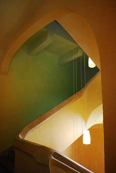 Staircase at Goetheanum. magical shading colors. love the light but would probably go a warmer color route.