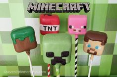 This is not so much a 'how-to' post as a 'it can be done' post on Minecraft cake pops. Check this out, and other amazing cake pop ideas, at http://sevenlittlemonkeys.com