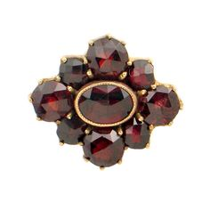 Victorian Garnet Ring • Multi-Stone Garnet Ring with 14K Gold Shank • Antique Feature Conversion Ring • Size 6.25