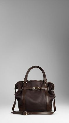 Large grainy leather tote bag with a polished metal clasp detail Two rolled  leather handles,. Burberry Australia c319def43e