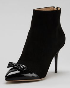 Myrtle Bow-Cap Suede Bootie, Black by Charlotte Olympia at Neiman Marcus.   Llooks like an 1890's boot.