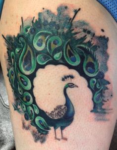 Tattoo by Katie Williams of House of Tattoo in Tacoma, Wa.  Love it.  Watercolor Peackock.