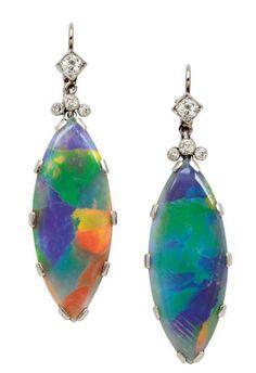 A Pair of Opal and Diamond Ear Pendants, circa 1920