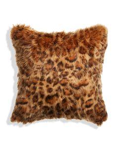 Leopard Faux Fur Pillow (18x18) by Montague